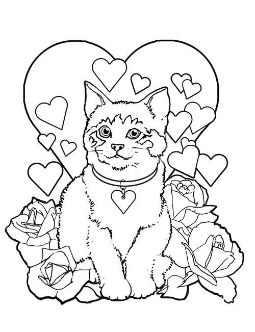 Kids Korner Free Coloring Pages Valentine Cat