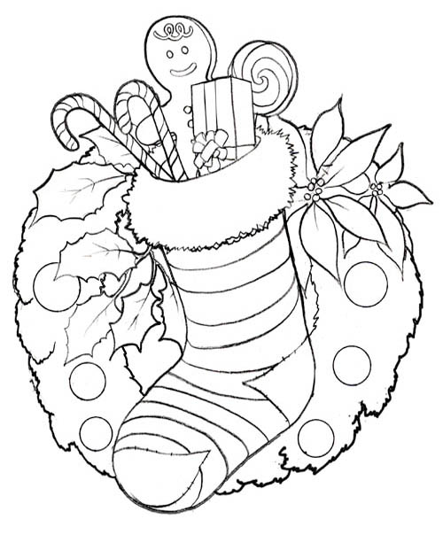 Kids' Korner Free Coloring Pages -Christmas Stocking